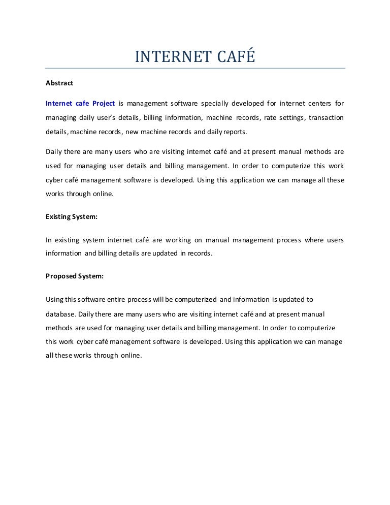 Thesis for internet cafe