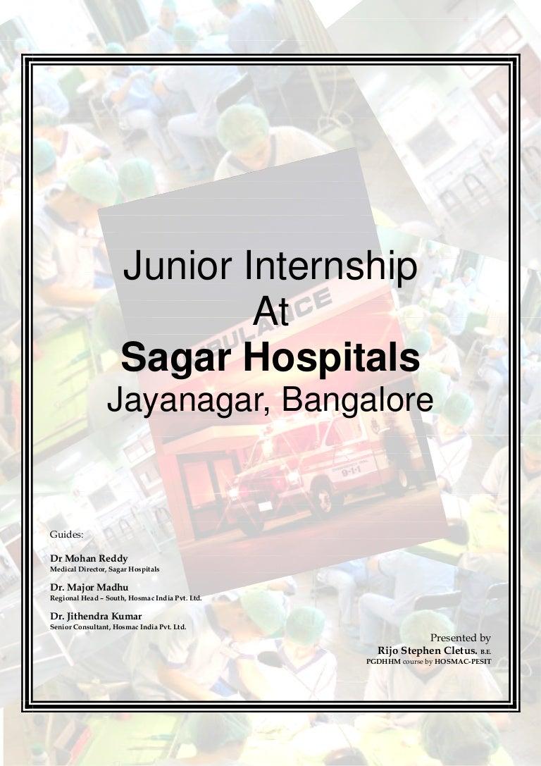 Internship at Sagar Hospital Final Report 200809 by Rijo Stephen Cl – Sample Internship Report Template