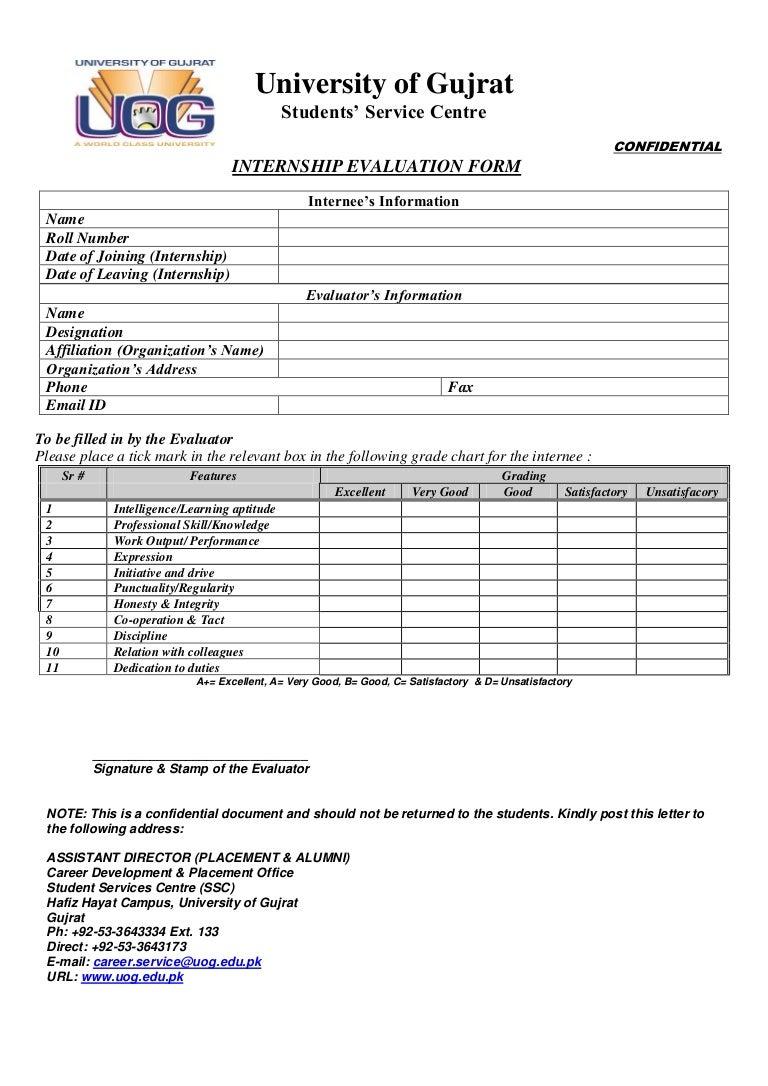 Uog Internship Evaluation Form 2012