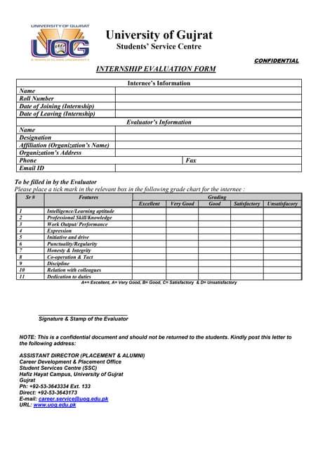 Internship evaluation form for supervisors