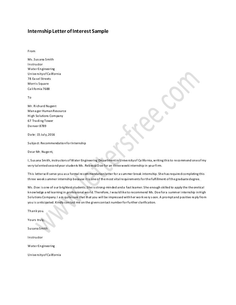 internship letter of interest sample