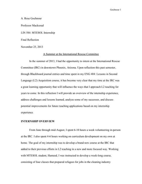 internship summary paper