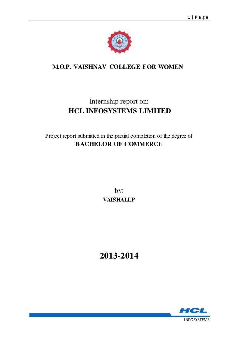 Internship Report On Hcl Infosystems