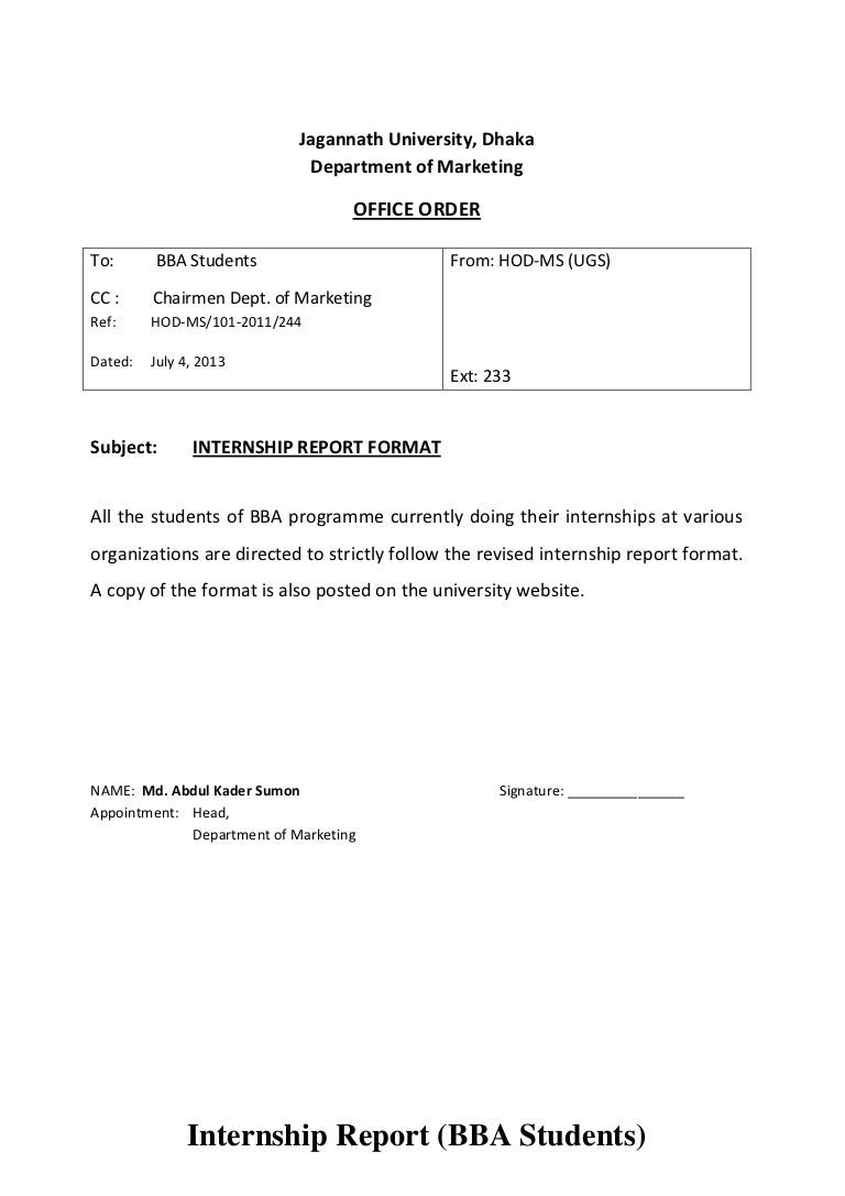 Internship report format – Internship Report Sample