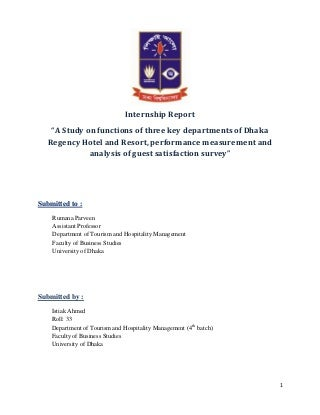 Internship Report on Dhaka Regency Hotel & Resort
