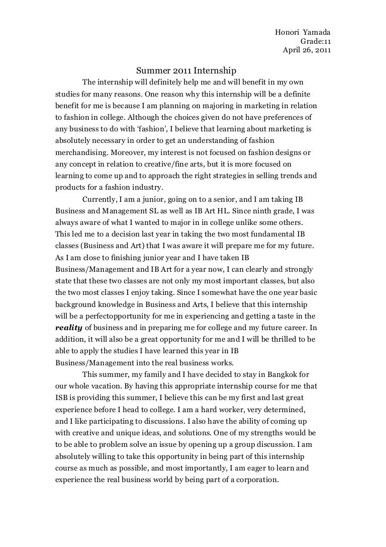 How To Write A Essay About A Book Internship Reflection Paper Essay To Build A Fire Essay also Essay Racial Discrimination Internshipsummerhonoriyamadaphpappthumbnailjpg Argumentative Essay Drinking Age