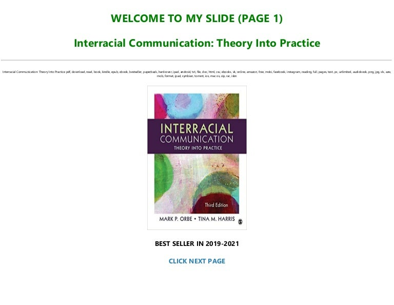 Free [P.D.F Download] Interracial Communication: Theory Into Practice Full-Online
