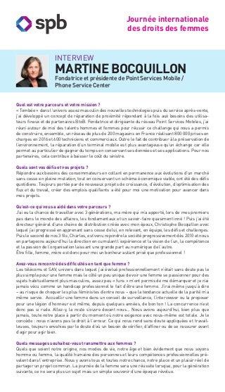 Interview de Martine Bocquillon pour la journée internationale des droits des femmes