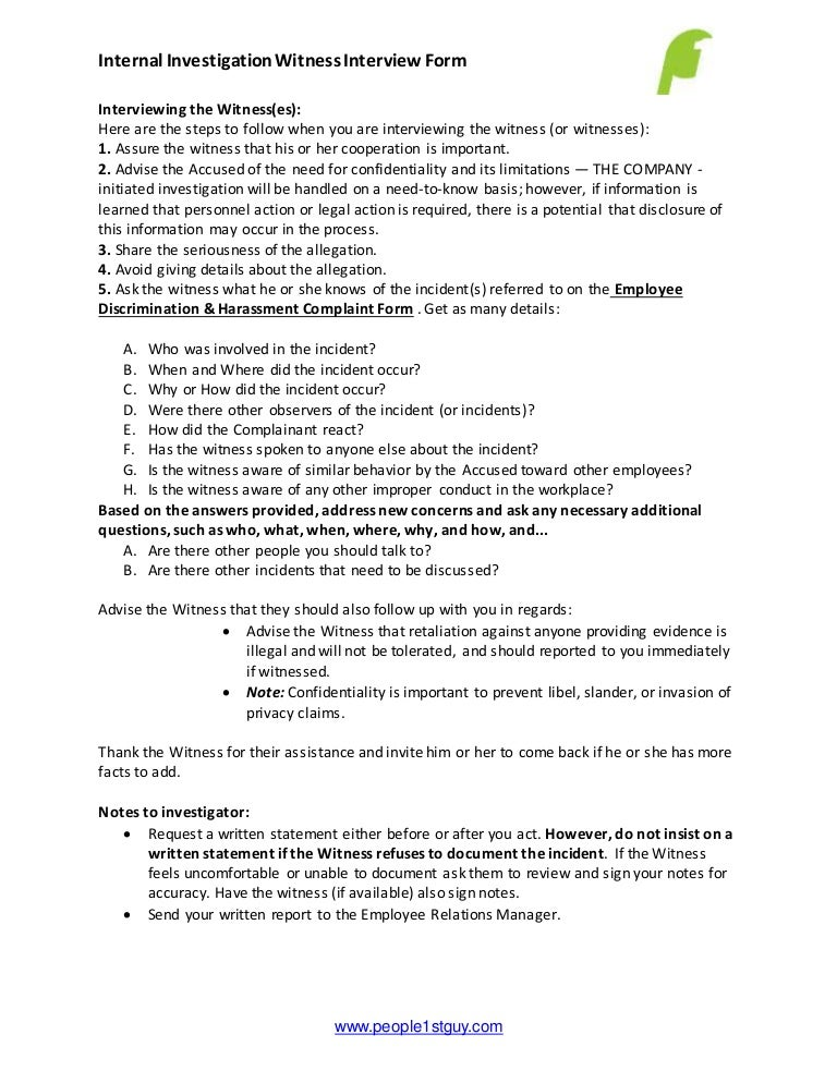 employee investigation witness interview form and notes