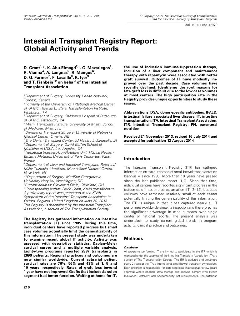 Intestinal transplant registry report global activity and trends