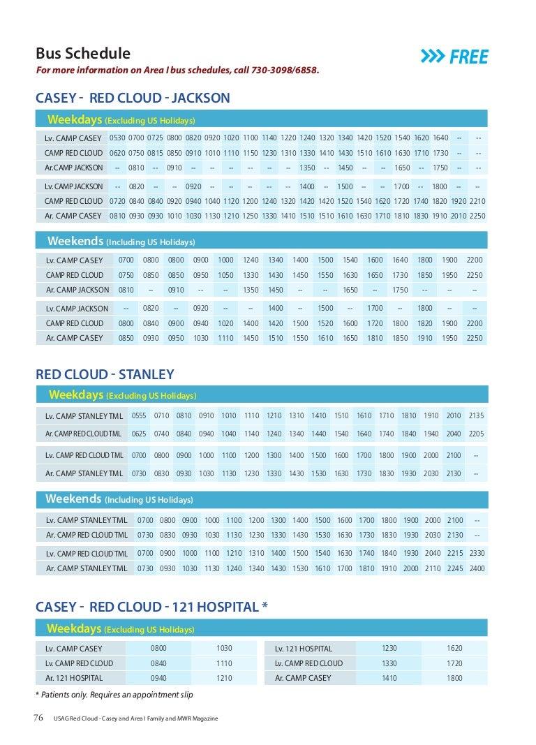 Area I Bus Schedules