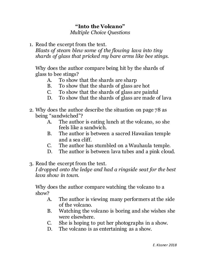 Into the Volcano Multiple Choice questions
