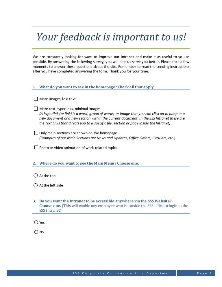 Intranet Survey Form