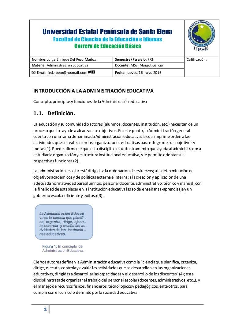 Introduccion a la administracion educativa