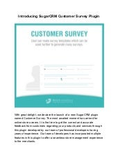 Introducing sugar crm customer survey plugin