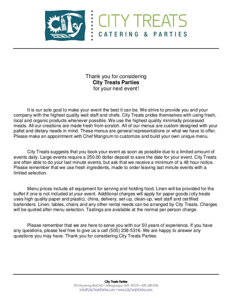 City Treats Parties Introduction Letter
