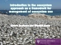 Introduction to the ecosystem approach as a framework for management of ecosystem use
