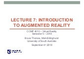 COMP 4010 - Lecture 7: Introduction to Augmented Reality