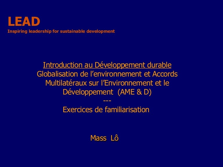 Dissertation sur le développement durable - Mots | Etudier