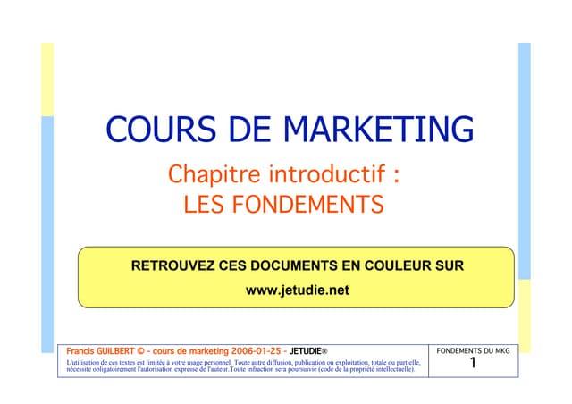 Introduction au marketing (les fondemants)