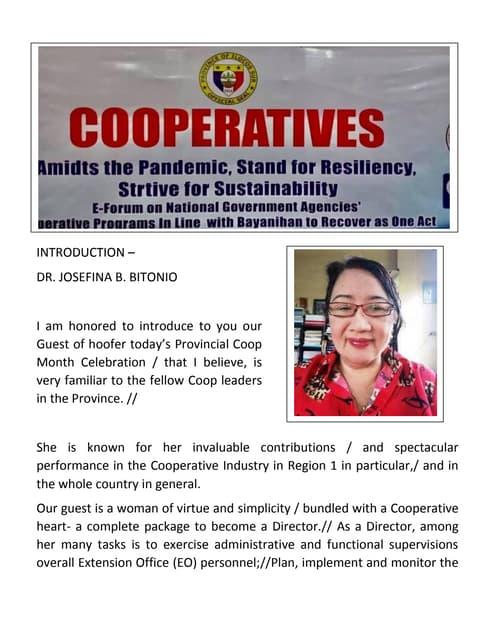 Introduction of Regional Director of CDA Regional Office I
