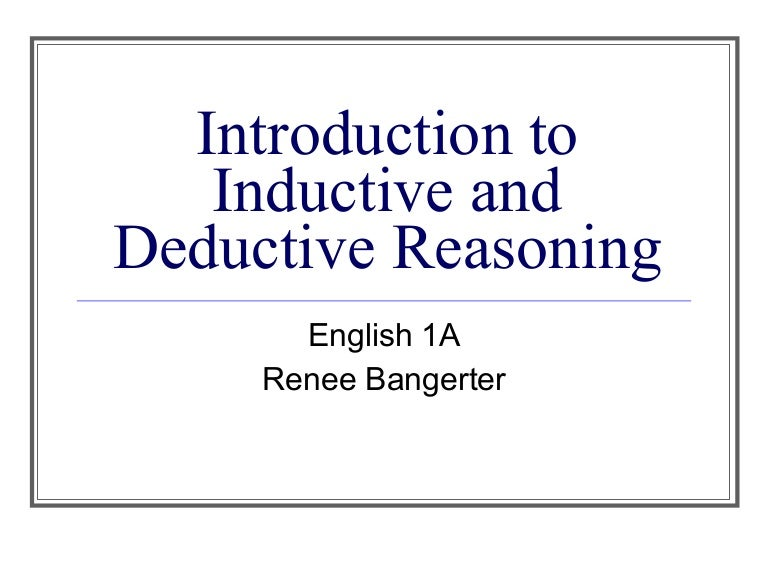 Introduction to inductive and deductive reasoning – Inductive and Deductive Reasoning Worksheet
