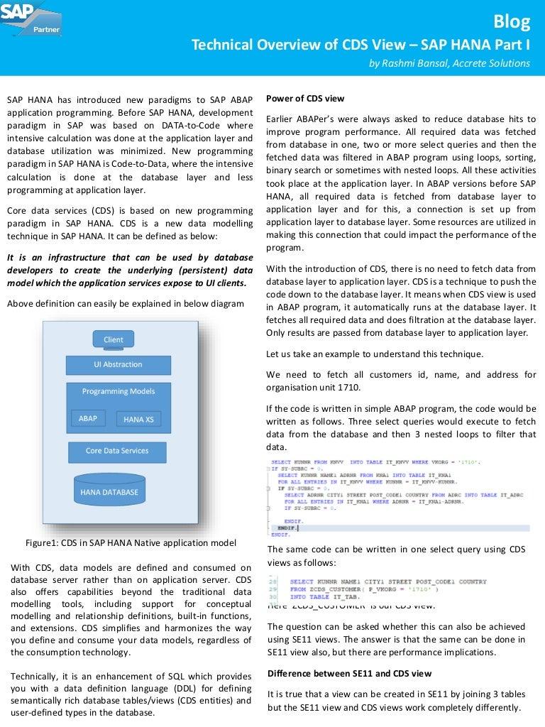 Technical Overview of CDS View – SAP HANA Part I