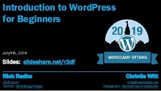 Introduction to WordPress, WordCamp Ottawa 2019