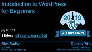 Introduction to WordPress - WordCamp Ottawa 2019