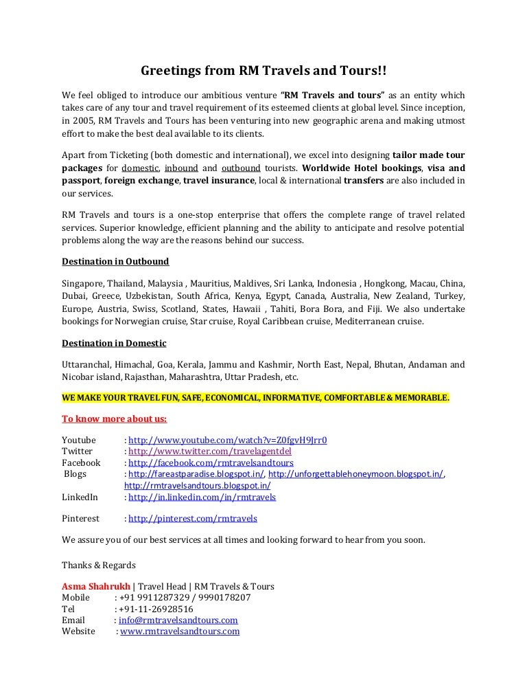 Introductory letter rm travels and tours – Business Introduction Letter