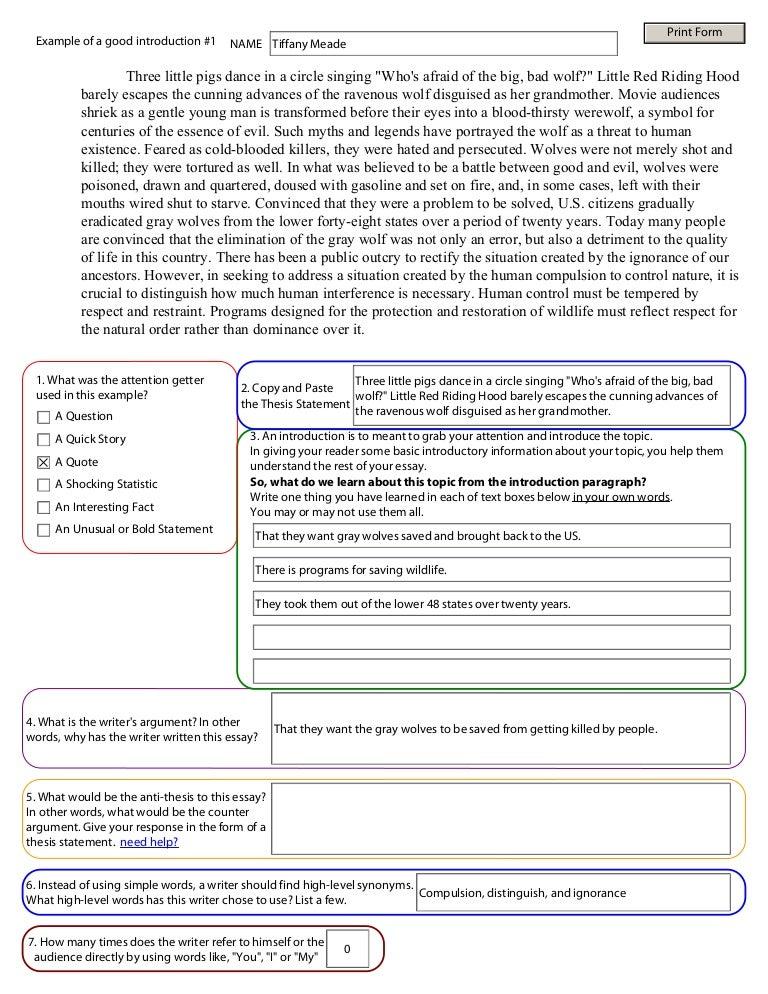 essay exercises