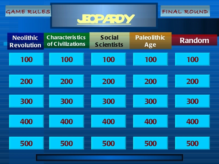 Intro Test Jeopardy Game