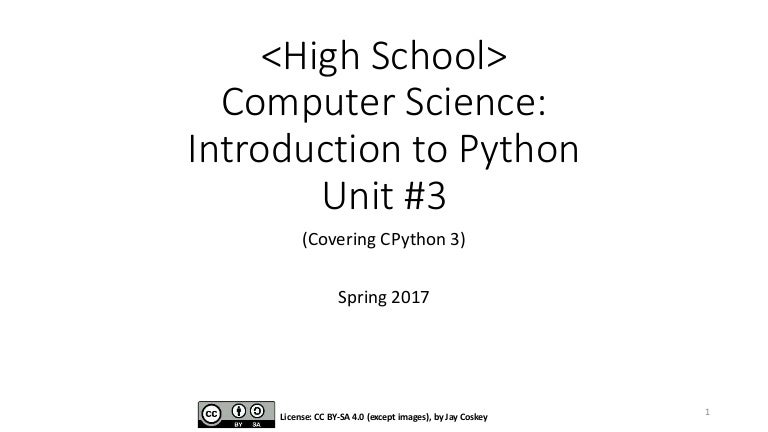 Intro to Python (High School) Unit #3