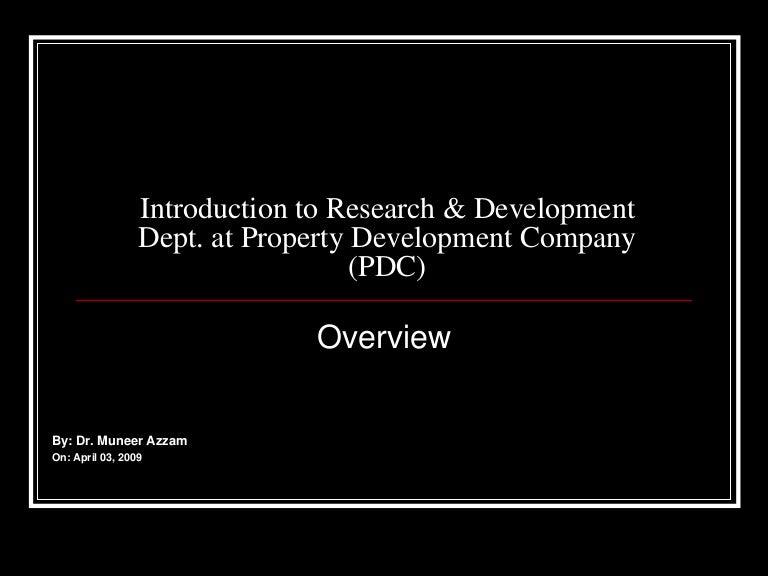 Research & Development (R&D) in Real Estate