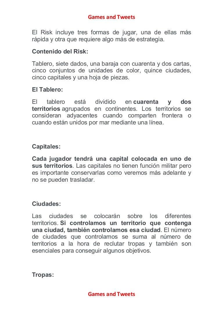 Intrucciones Y Reglas De Juego De Risk De Hasbro Parker