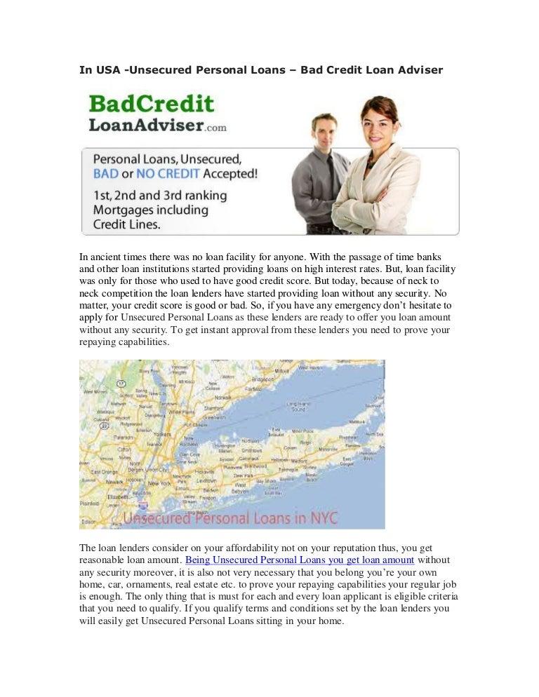 credit loans personal bad unsecured loan usa adviser slideshare