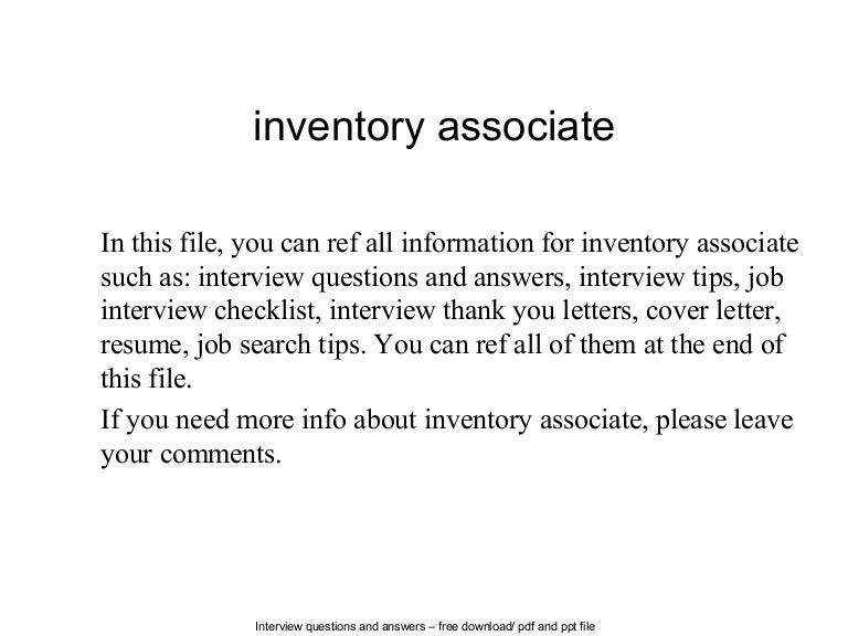 inventory associate - Inventory Associate