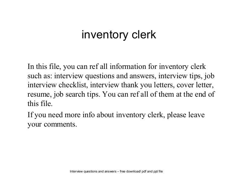 inventory job description