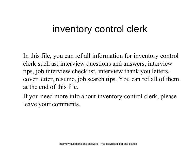 Inventory control clerk – Inventory Control Clerk