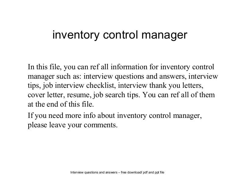 Inventory control manager – Inventory Control Cover Letter