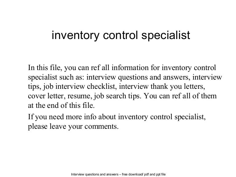 Inventory control specialist – Inventory Management Specialist Resume