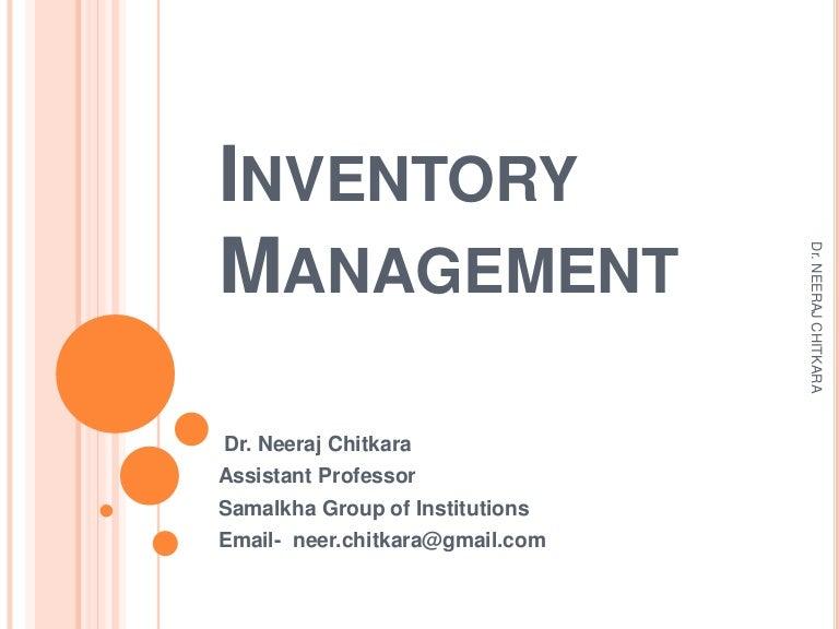 Inventory Management Ppt Slideshare