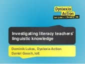 Investigating literacy teachers' linguistic knowledge