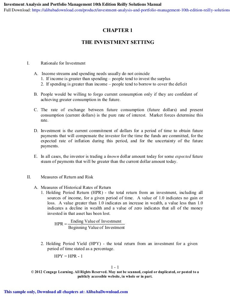 investment analysis and portfolio management chapter 10 ppta