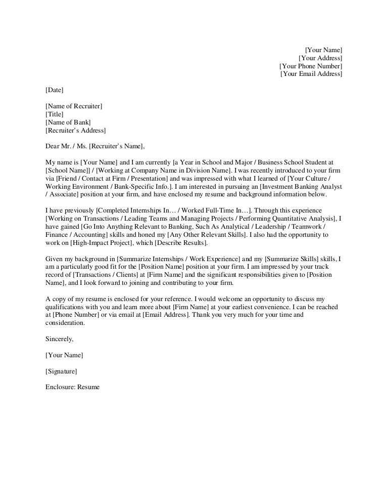 Investment Banking Cover Letter. Investment Banking Cover Letter ...