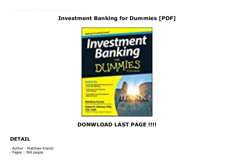 Investment banking for dummies pdf fiduciary investment advisors salary negotiation