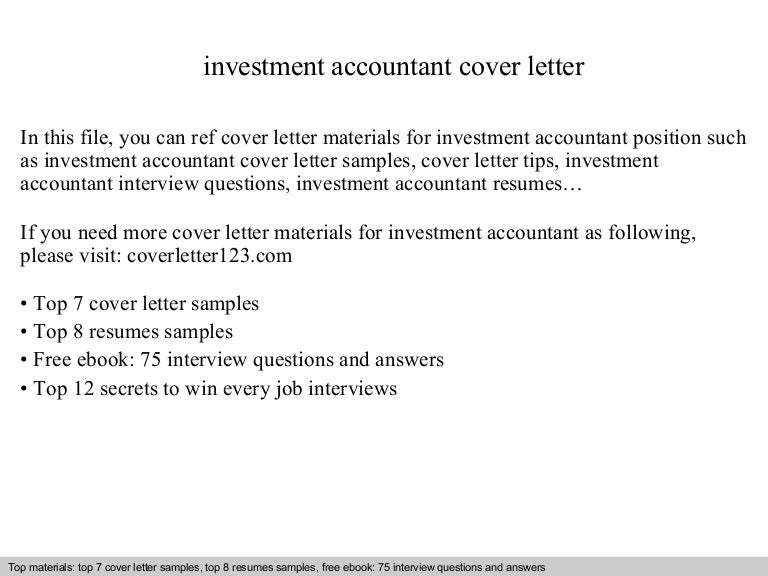 Investment Consultant Cover Letter