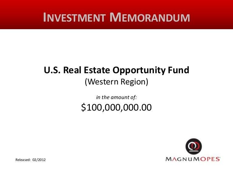 Investment memorandum narrated