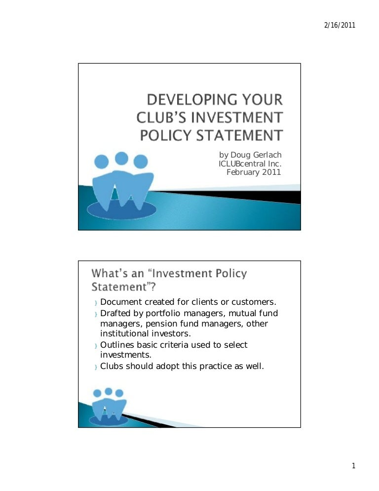 Developing Your Investment Club'S Investment Policy Statement