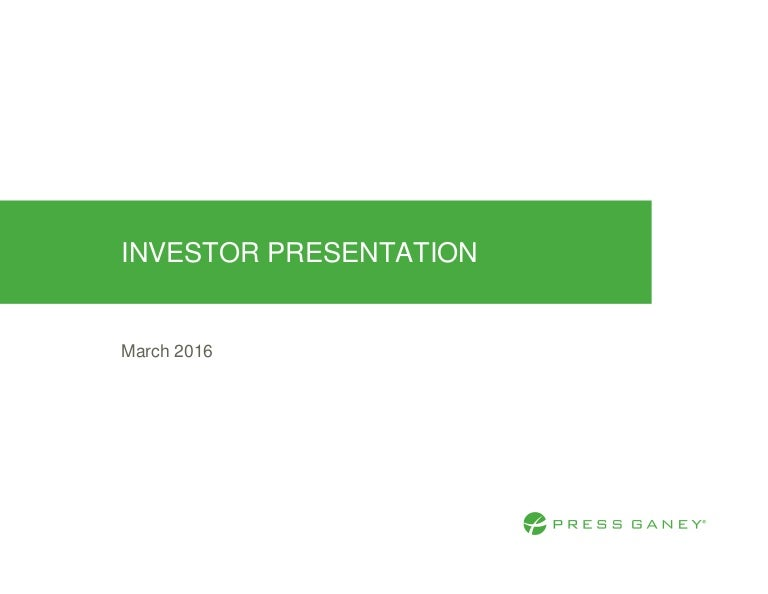 Investor Relations Presentation - March 2016